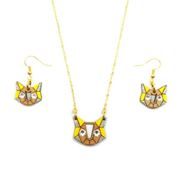 parure chat en bois couleur jaune avec strass
