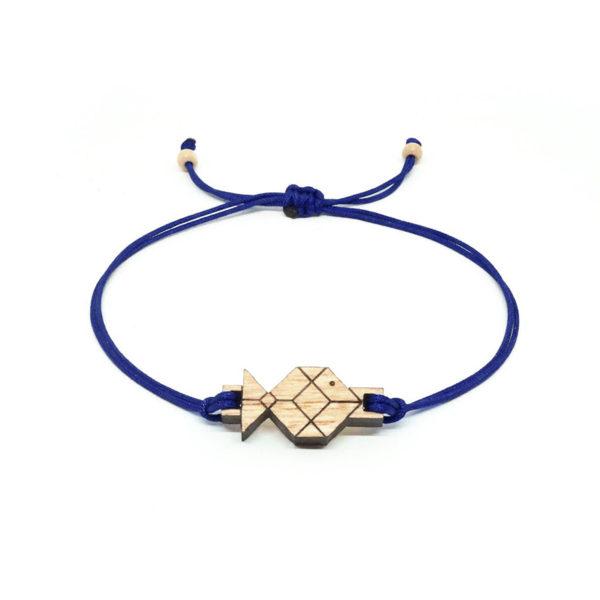bracelet cordon bleu marine avec pendentif en bois et en forme de poisson origami