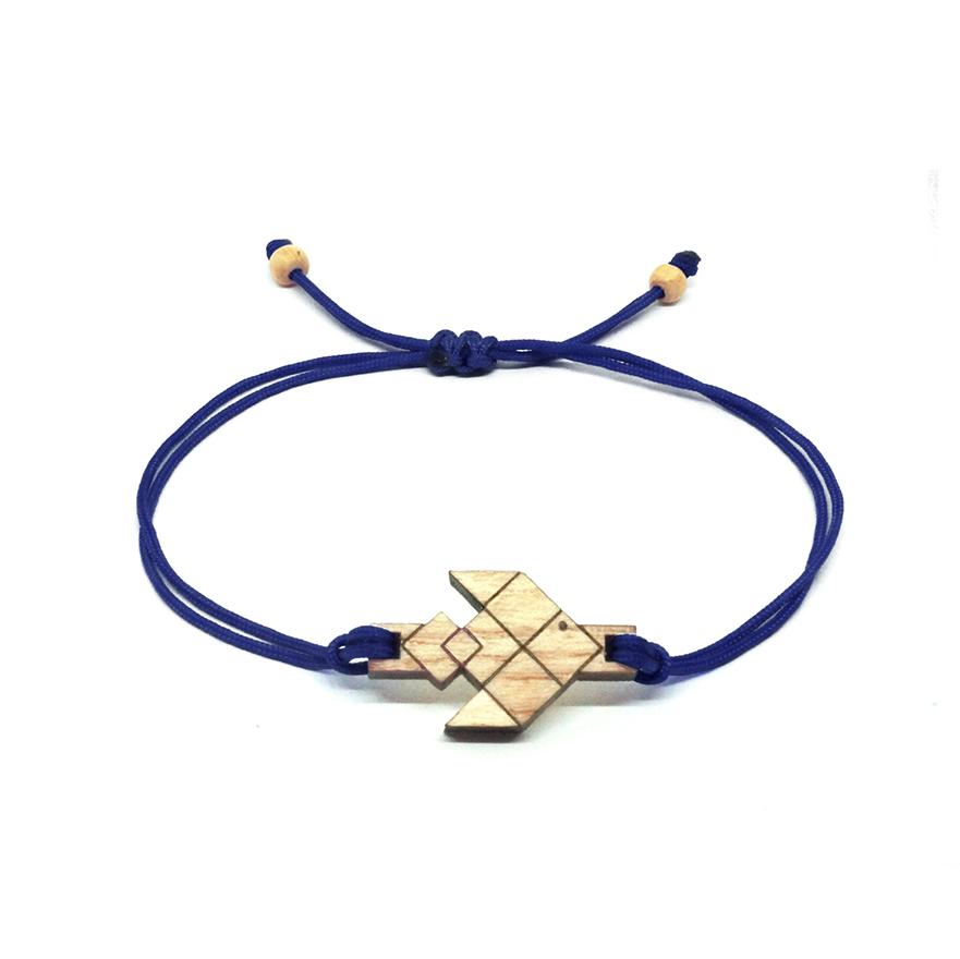 bracelet cordon bleu marine avec pendentif en bois et en forme de poisson volant