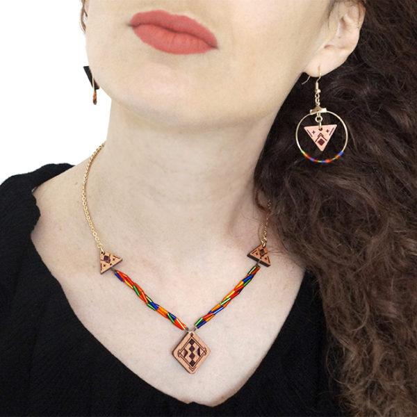 fille avec un collier coloré et des boucles d'oreilles en bois