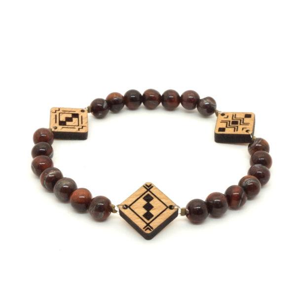 bracelet marron avec pendentif en bois berbère