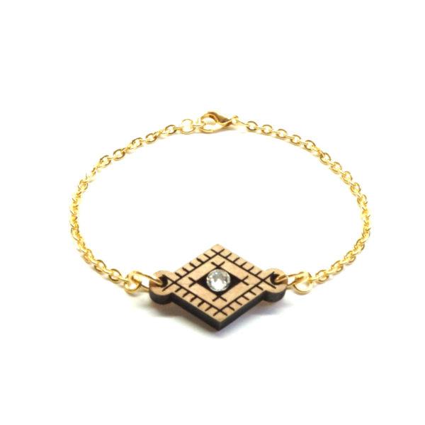 bracelet chaine avec pendentif en bois berbère