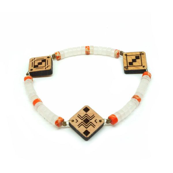 bracelet blanc et orange berbère en bois et en pierre naturelle