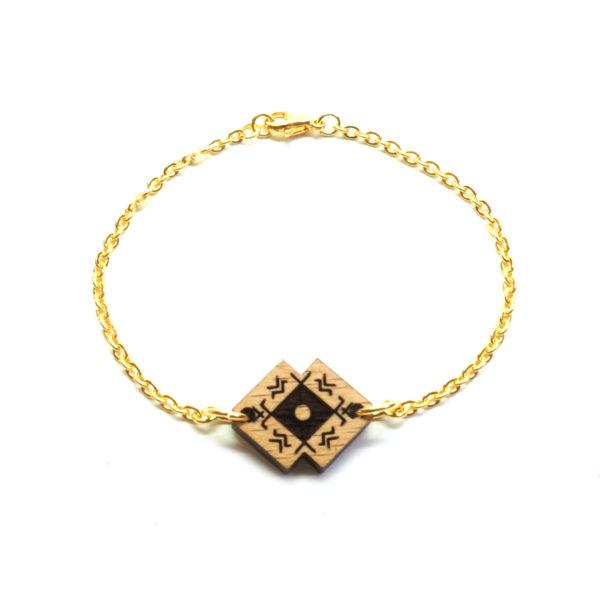 bracelet avec chaine pendentif en bois berbère