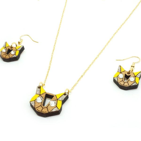 collier boucles d'oreilles chat